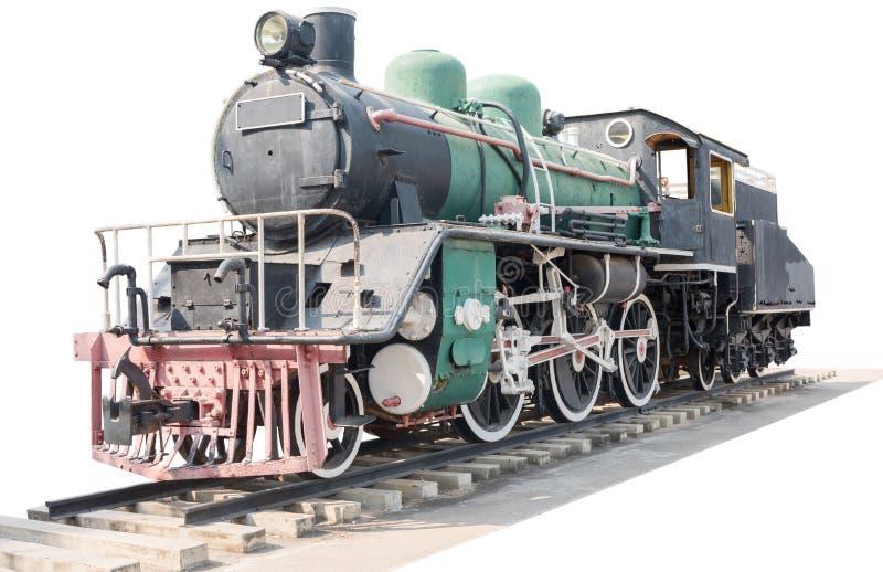 Il vecchio treno d'annata in Tailandia ha isolato fotografia stock