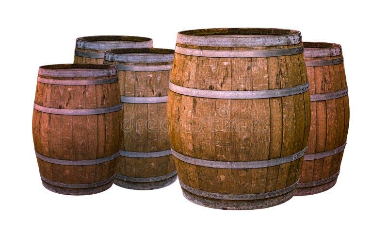 Il vecchio whiskey di invecchiamento dell'alcool dei barilotti della quercia ha impregnato di vino che dà ad un gusto unico la pr immagine stock