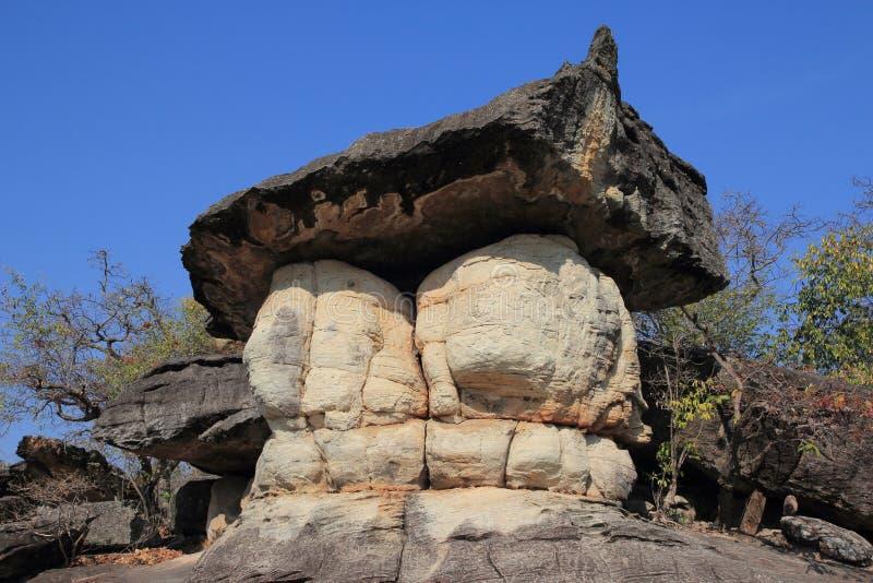 Il vento famoso ha eroso le formazioni rocciose come forma del fungo: Parco nazionale di Phu Pha Thoep, Tailandia immagini stock