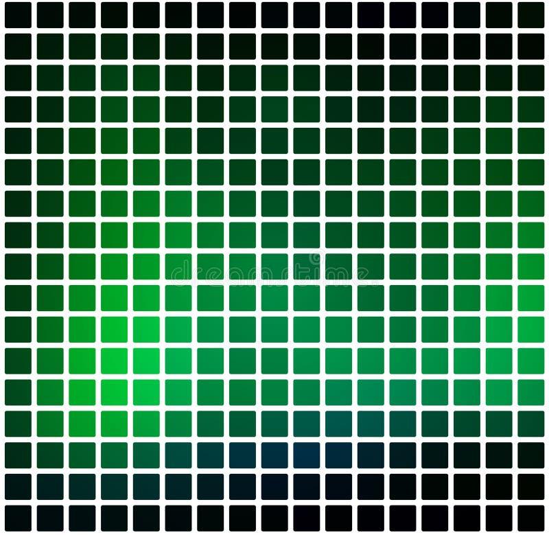 Il verde al neon d'ardore ha arrotondato il fondo del mosaico sopra il quadrato bianco illustrazione di stock