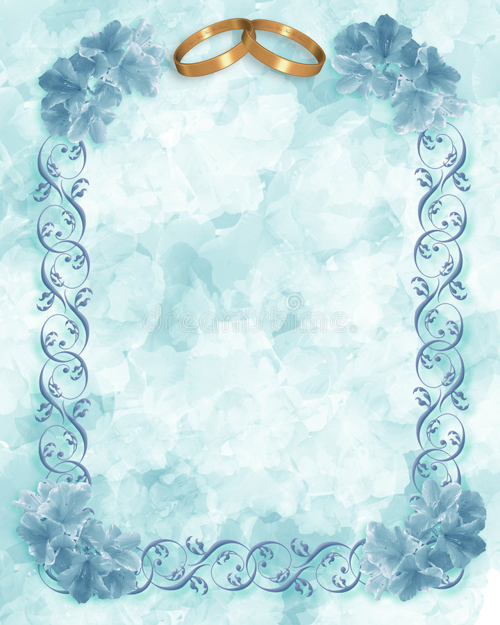 Il verde blu fiorisce la partecipazione di nozze illustrazione di stock