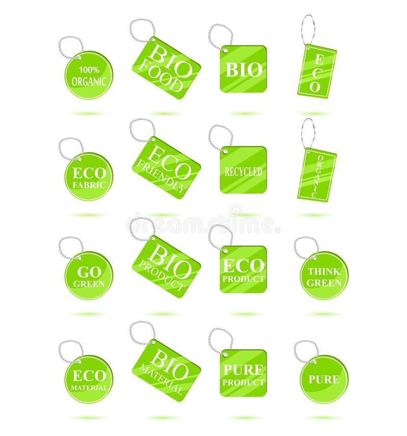 Il verde di Eco ricicla le etichette illustrazione di stock