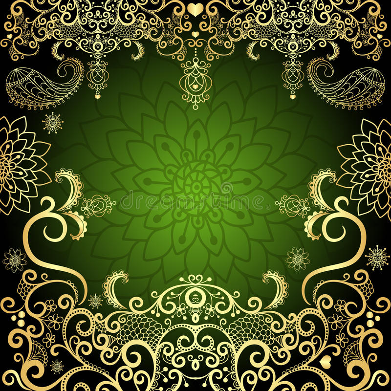 struttura floreale dell'annata dell'Verde-oro royalty illustrazione gratis