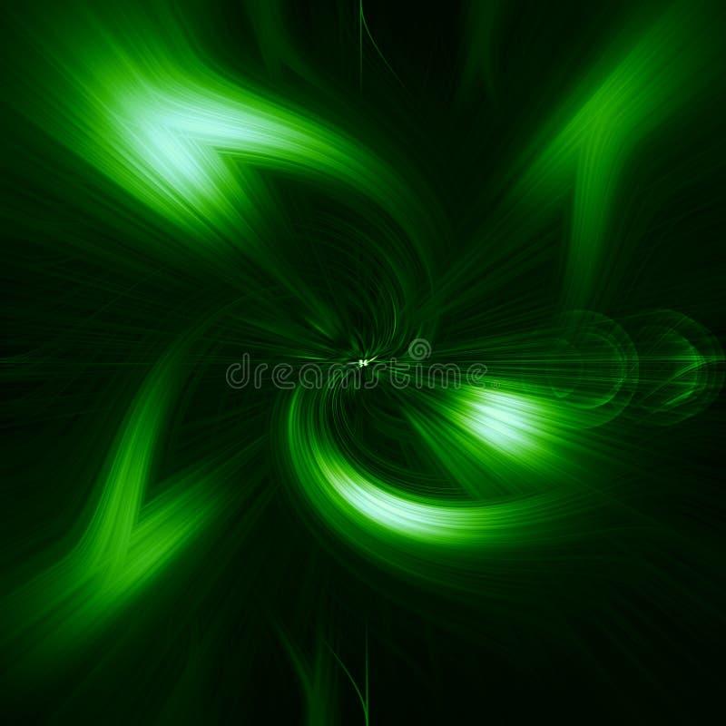 Il verde, emettente luce, estratto dipende un fondo nero, abstracti illustrazione vettoriale
