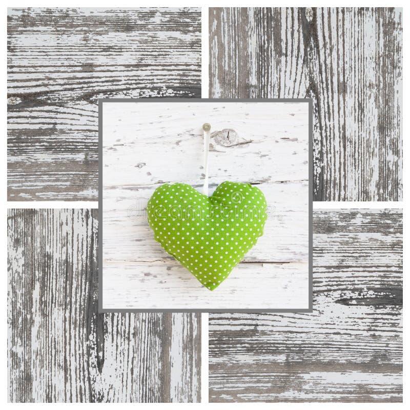 Il verde fatto a mano ha punteggiato la forma del cuore e la struttura di legno - fatte a mano - fotografie stock libere da diritti