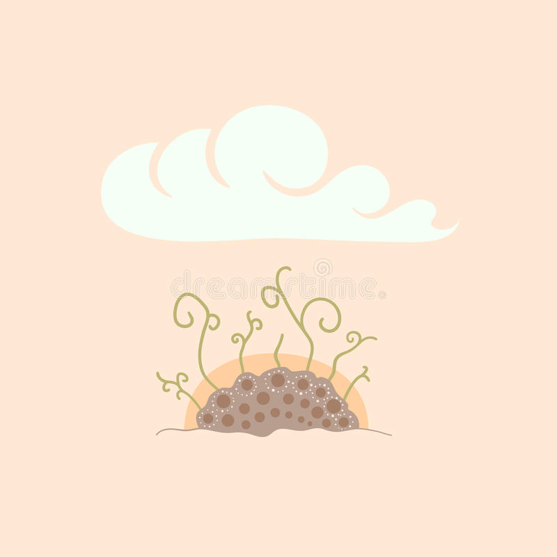 Il verde germoglia in suolo nell'ambito dell'alba del cielo illustrazione di stock