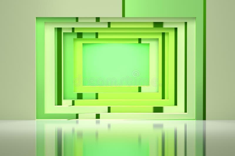 Il verde ha barrato il tunnel quadrato geometrico nella parete illustrazione di stock