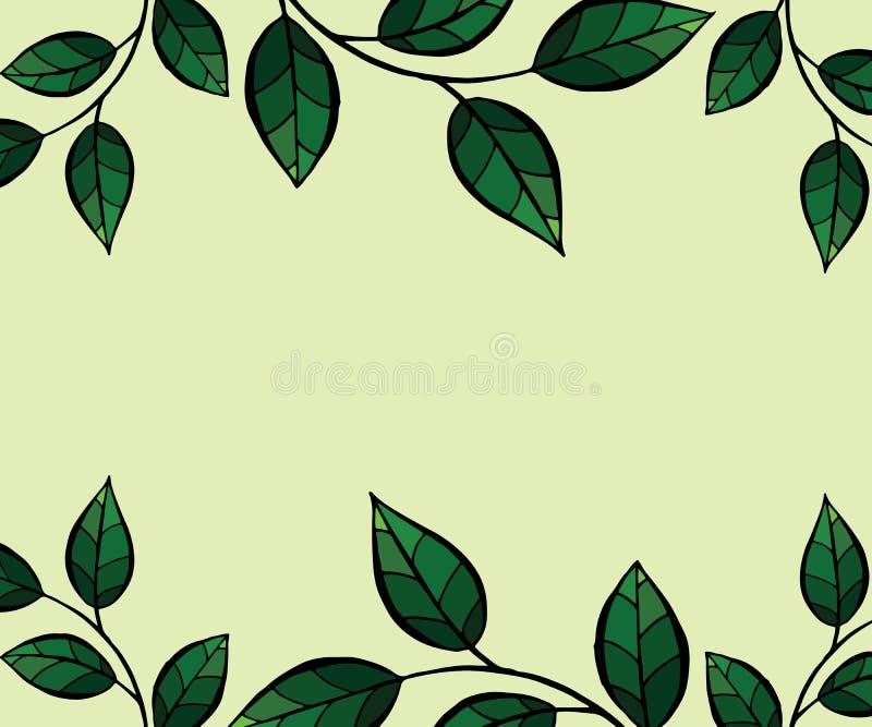 Il verde lascia il blocco per grafici Fondo di vettore illustrazione di stock