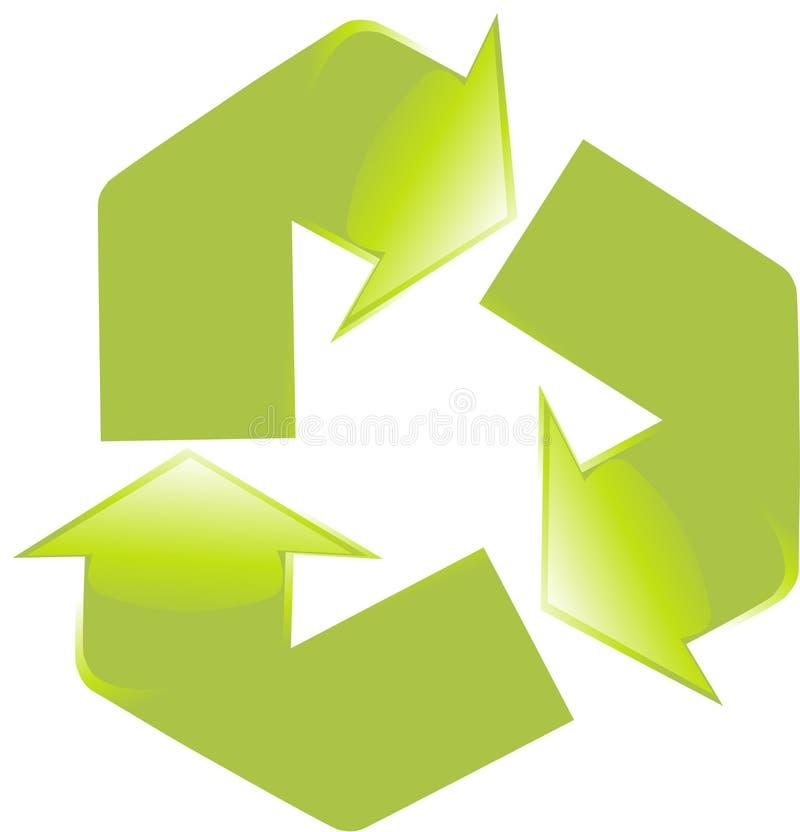 Il verde lucido ricicla il simbolo fotografia stock libera da diritti