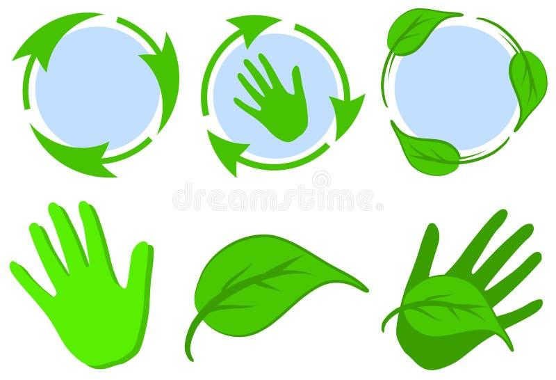 Il verde ricicla le mani dei fogli di simboli illustrazione di stock