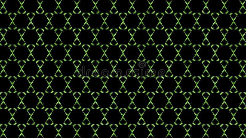 Il verde sei-rayed la stella su fondo nero reticolo senza giunte geometrico royalty illustrazione gratis