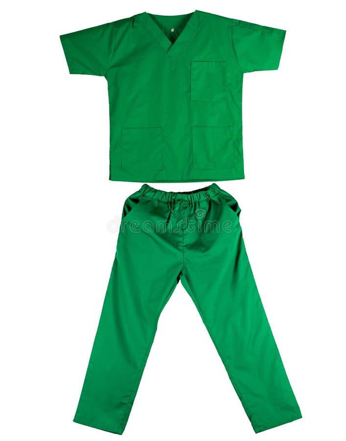 Il verde sfrega l'uniforme isolata su fondo bianco Camicia e pantaloni verdi per il veterinario, medico o l'infermiere fotografia stock libera da diritti
