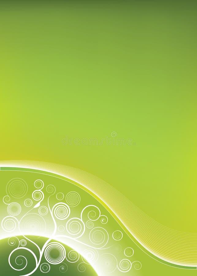Il verde si sviluppa a spiraleare priorità bassa con la maglia del pianeta illustrazione di stock