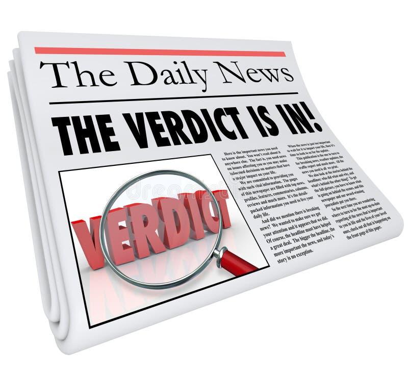 Il verdetto è nel giudizio di risposta del titolo di giornale annunciato illustrazione vettoriale