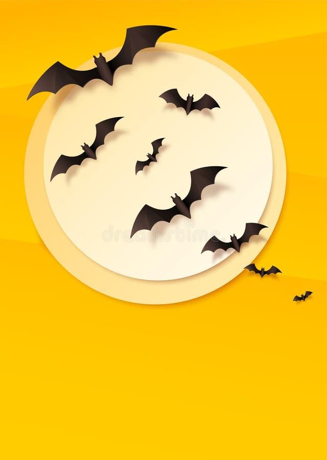 Il verticale giallo ha piegato il fondo di carta con i pipistrelli neri di volo sulla luna bianca Fondo del manifesto di Hallowee illustrazione vettoriale