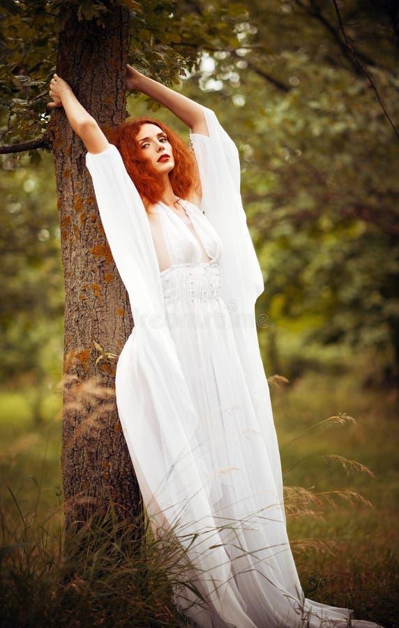 Il vestito bianco d'uso dalla donna affascinante della testarossa sta l'albero vicino fotografie stock