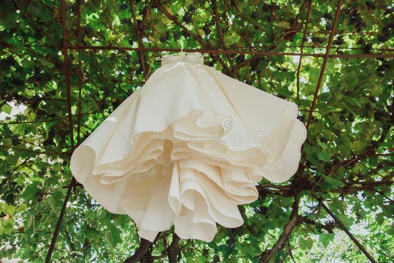 Il vestito dall'avorio di nozze del raso con il treno sta appendendo sull'albero Foto all'aperto elegante fotografia stock libera da diritti