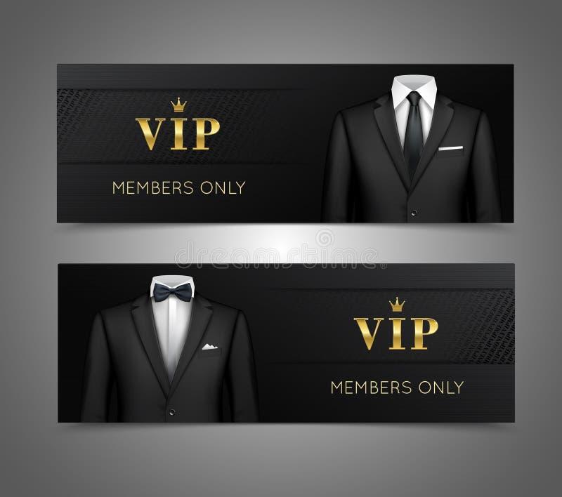 Il vestito VIP dell'uomo d'affari carda le insegne orizzontali illustrazione vettoriale