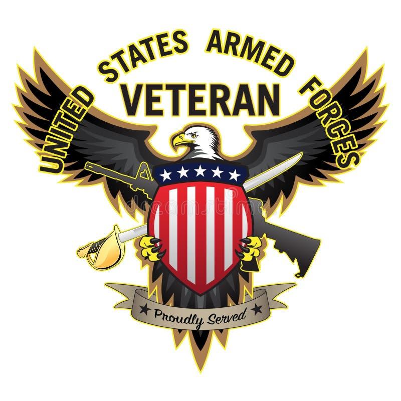 Il veterano delle forze armate degli Stati Uniti ha servito fiero Eagle Vector Illustration calvo illustrazione di stock