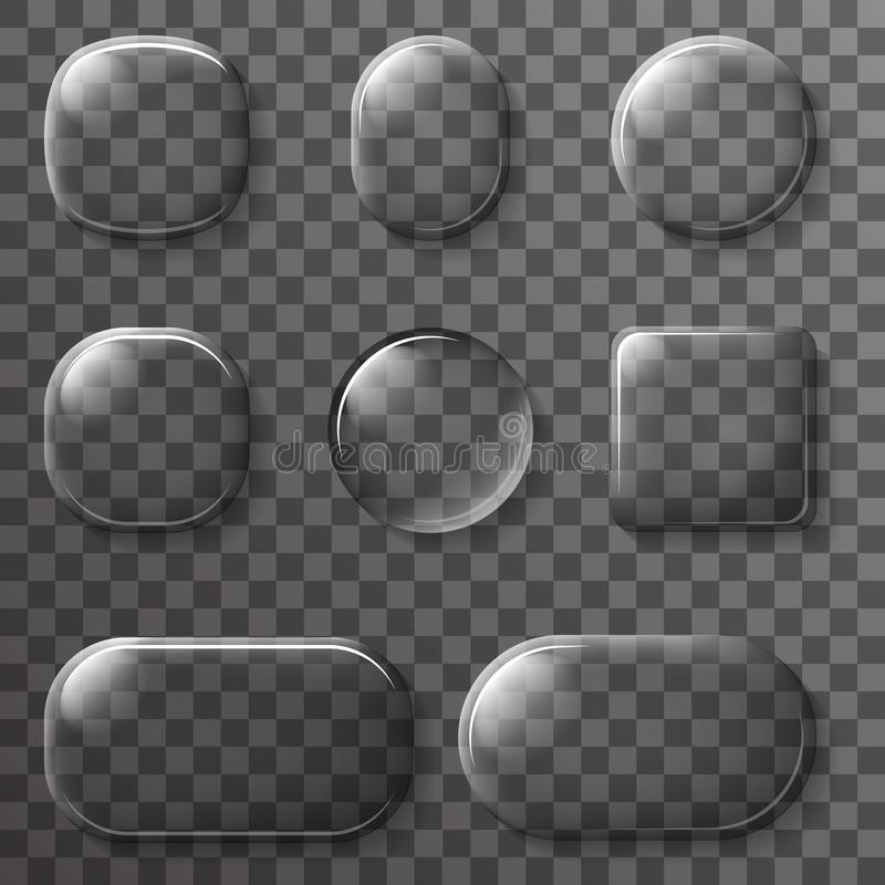Il vetro App UI abbottona l'illustrazione trasparente di vettore degli elementi di progettazione delle icone illustrazione di stock
