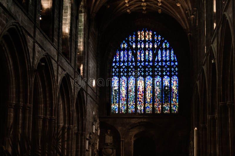 Il vetro di Chester Cathedral fotografia stock libera da diritti