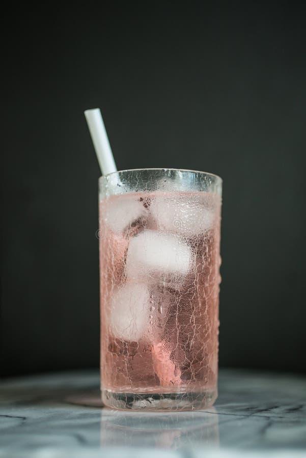 Il vetro di Longdrink con paglia bianca in rosa ha colorato il cocktai immagini stock libere da diritti