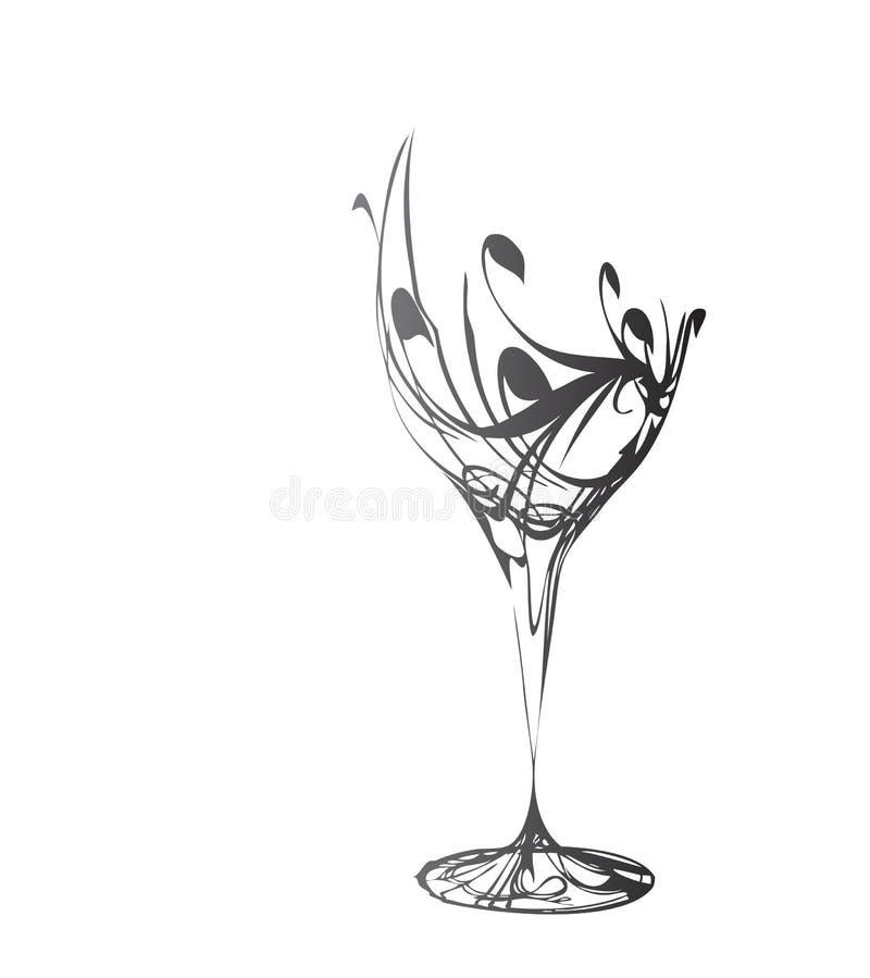 Il vetro di vino stilizzato royalty illustrazione gratis