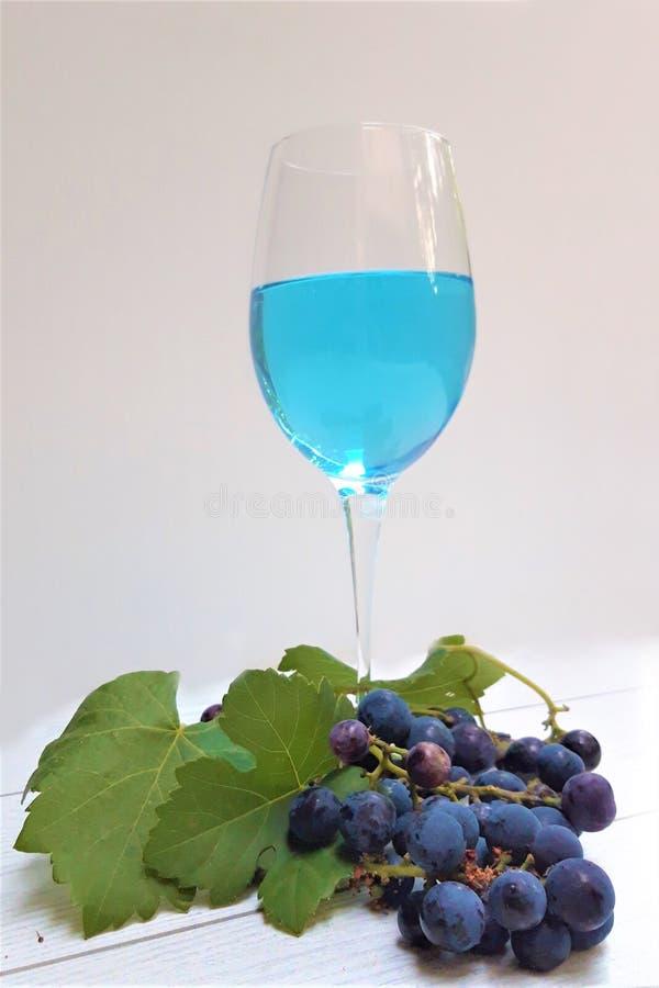 Il vetro di vino trandy blu con l'uva copia lo spazio immagine stock