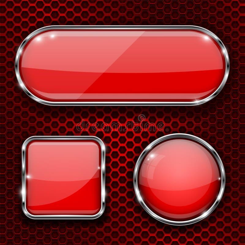 Il vetro rosso 3d si abbottona con la struttura del cromo su fondo perforato metallo illustrazione di stock