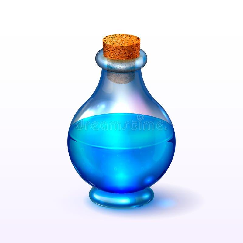 Il vetro rotondo ha tappato la bottiglia con illustrazione di stock