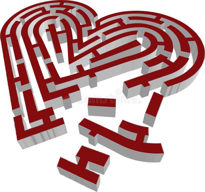 il vettore 3d brocken il tipo del cuore del labirinto royalty illustrazione gratis