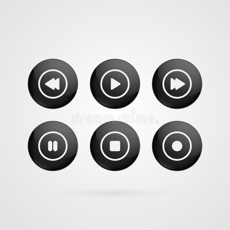 Il vettore abbottona i simboli Gioco lucido in bianco e nero, fermata, rewind, di andata, pausa, segni record isolati icone dell' illustrazione vettoriale