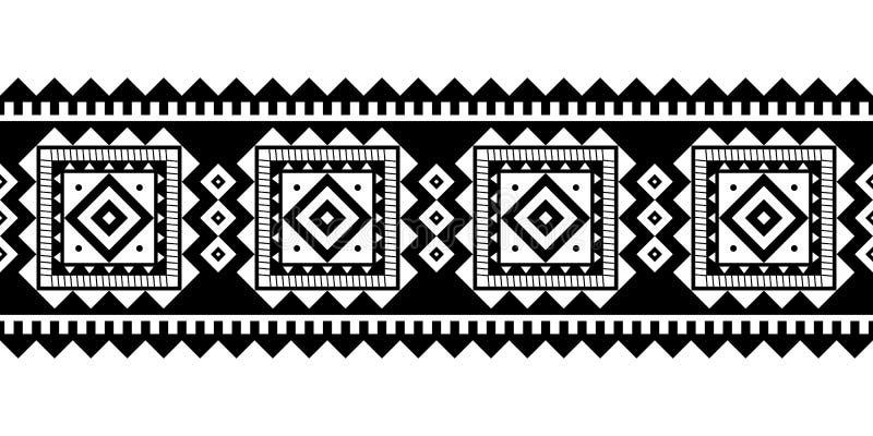 Il vettore azteco di stile orna il bianco nero illustrazione di stock