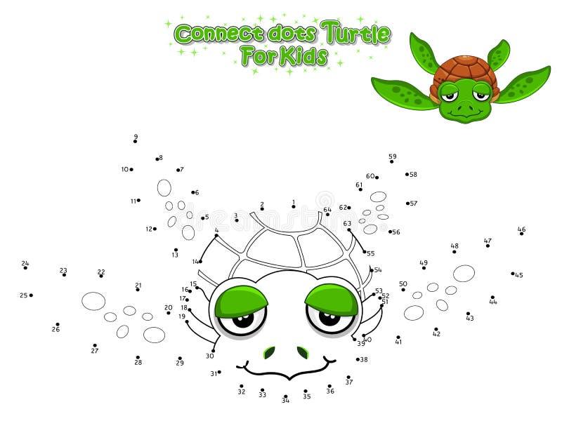 Il vettore collega i punti e disegna la tartaruga sveglia del fumetto Gioco educativo per i bambini Illustrazione di vettore con  royalty illustrazione gratis