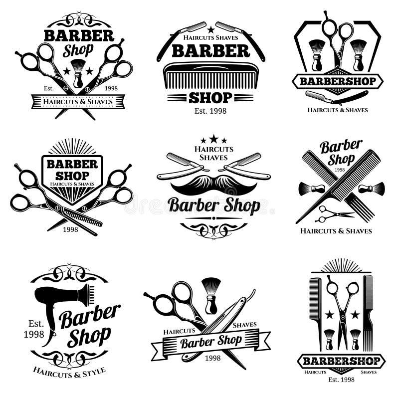 Il vettore d'annata del parrucchiere simbolizza ed etichette Distintivi e logos del barbiere illustrazione vettoriale