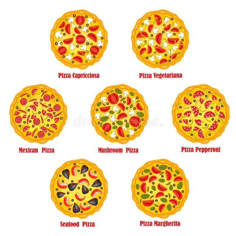 Il vettore degli alimenti a rapida preparazione della pizza ha isolato le icone della pizzeria messe illustrazione di stock