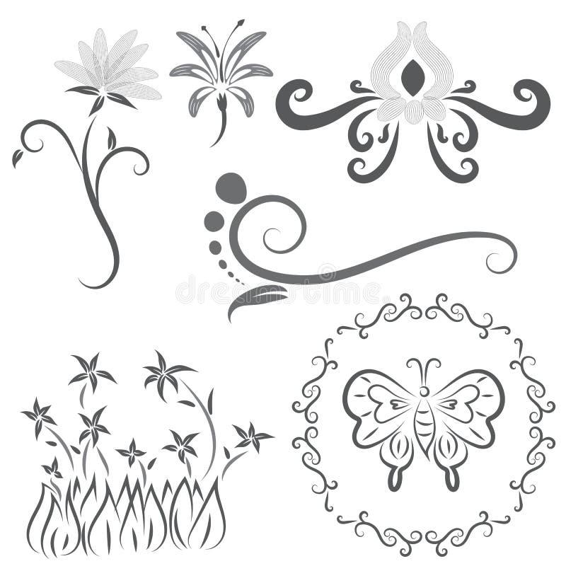 Il vettore degli elementi calligrafici di progettazione del fiore nelle linee nere turbina su fondo bianco illustrazione vettoriale