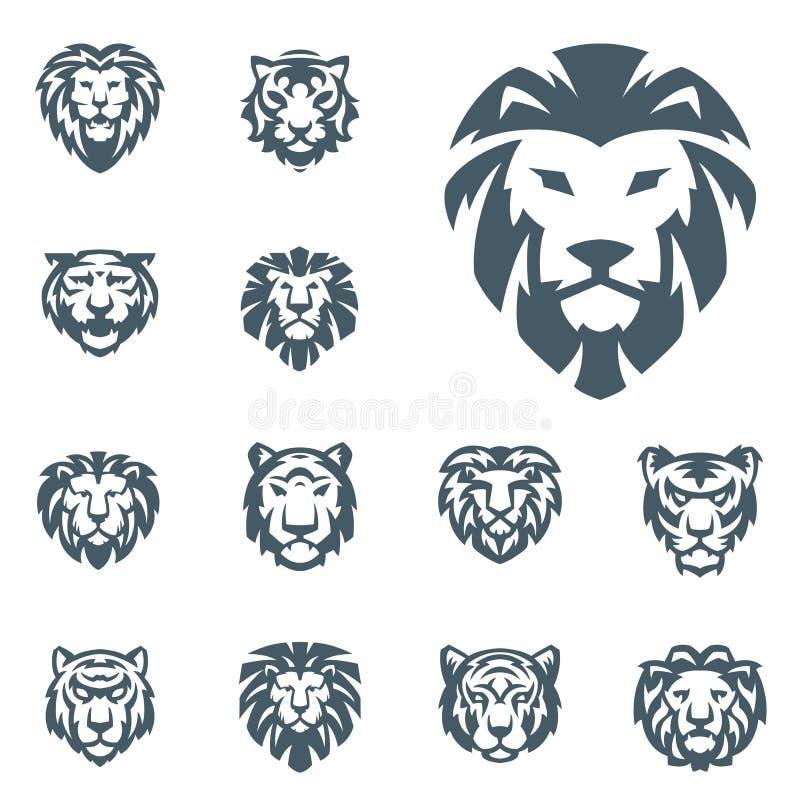 Il vettore dei leoni e della tigre dirige l'animale selvaggio di potere dell'illustrazione di potere predatore di forza del disti royalty illustrazione gratis