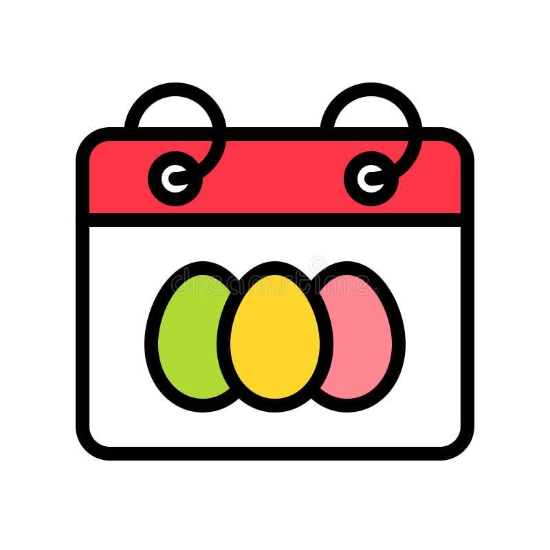 Il vettore del calendario, Pasqua ha riempito il colpo editabile dell'icona illustrazione vettoriale