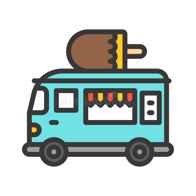 Il vettore del camion del gelato, camion dell'alimento ha riempito l'icona editabile del colpo di stile illustrazione vettoriale