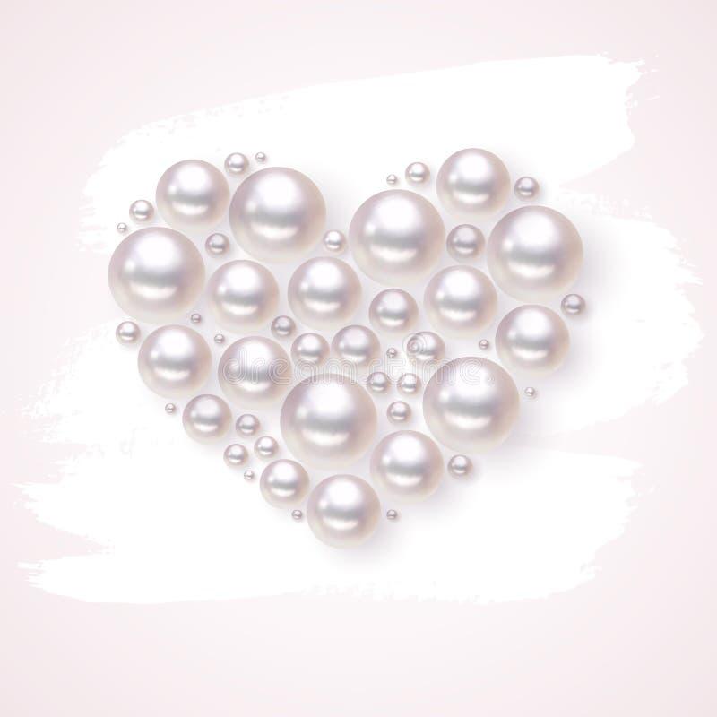 Il vettore del cuore della perla a disposizione disegnato macchia il fondo illustrazione vettoriale