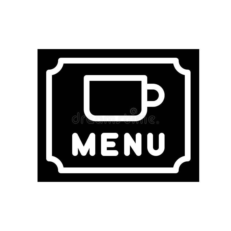 Il vettore del menu del caffè, caffè ha collegato lo stile solido illustrazione di stock