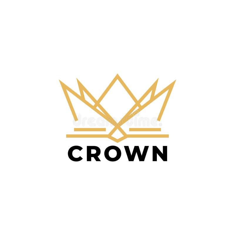 Il vettore del modello di progettazione di logo della corona dell'oro ha isolato royalty illustrazione gratis