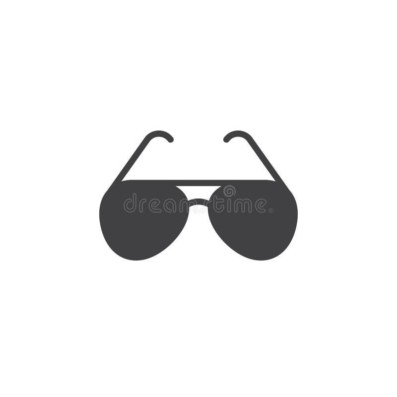 Il vettore dell'icona degli occhiali da sole, vetri di sole ha riempito il segno piano, pict solido illustrazione vettoriale