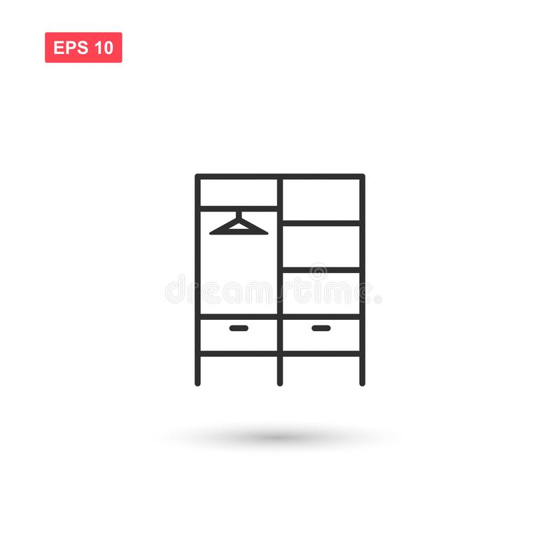 Il vettore dell'icona del guardaroba ha isolato 3 illustrazione di stock