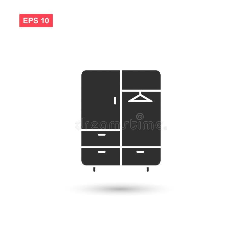 Il vettore dell'icona del guardaroba ha isolato 6 illustrazione di stock