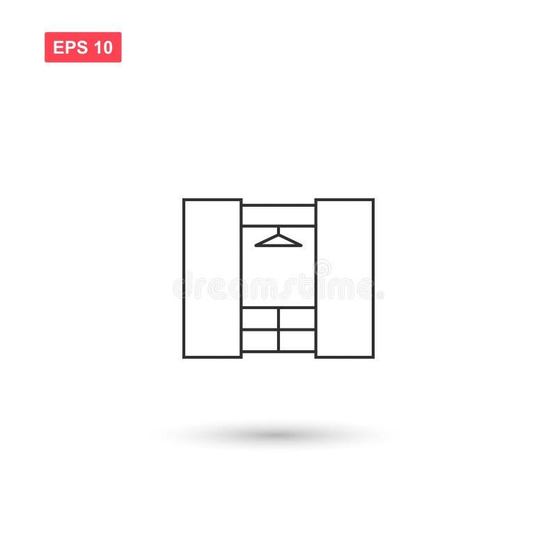 Il vettore dell'icona del guardaroba ha isolato 4 illustrazione vettoriale