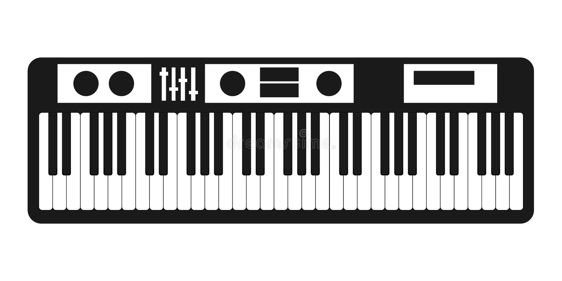 Il vettore dell'icona del sintetizzatore isolato su fondo bianco per il vostro web ed il cellulare app progettano, concetto di lo illustrazione di stock