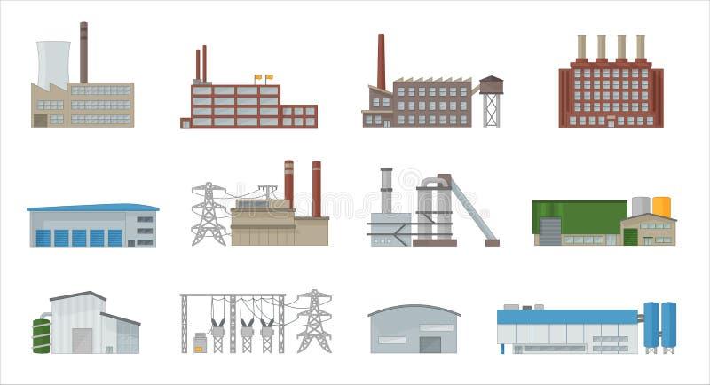 Il vettore dell'icona della costruzione della fabbrica ha messo nello stile piano illustrazione vettoriale