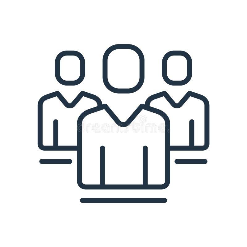 Il vettore dell'icona della gente isolato su fondo bianco, la gente firma illustrazione di stock